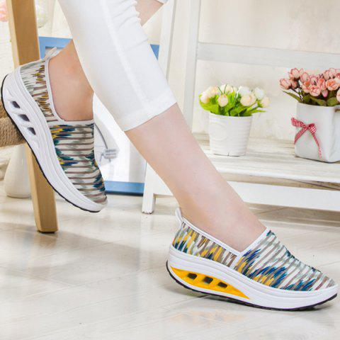 Outfit Print Slip On Sheer Sneakers - 39 WHITE AND YELLOW Mobile
