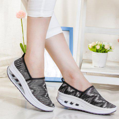 Outfit Print Slip On Sheer Sneakers - 38 BLACK Mobile