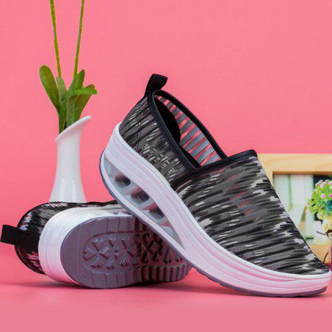 Shop Print Slip On Sheer Sneakers - 38 BLACK Mobile