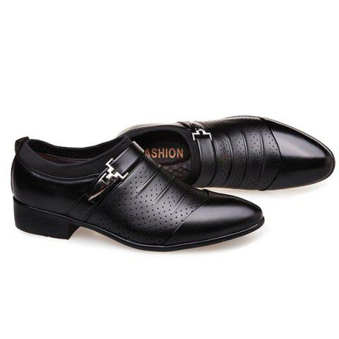 Fancy Pleated Breathable Formal Shoes - 43 BLACK Mobile