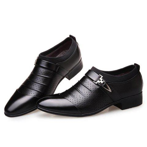 Shop Pleated Breathable Formal Shoes - 44 BLACK Mobile
