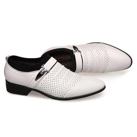 Online Pleated Breathable Formal Shoes - 44 WHITE Mobile