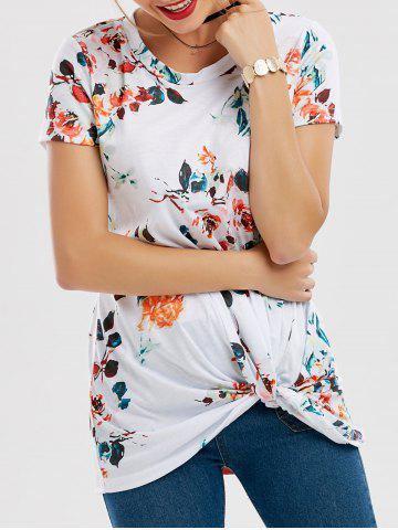 Outfit Floral Knotted T-Shirt WHITE S