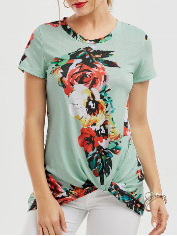 Shop Floral Knotted T-Shirt - GREEN 2XL Mobile