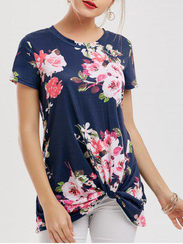 Fashion Floral Knotted T-Shirt NAVY BLUE L