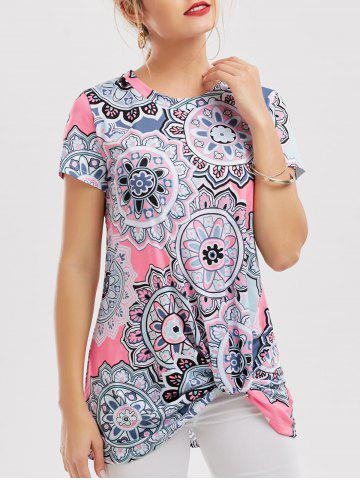 Discount Floral Knotted T-Shirt COLORMIX M