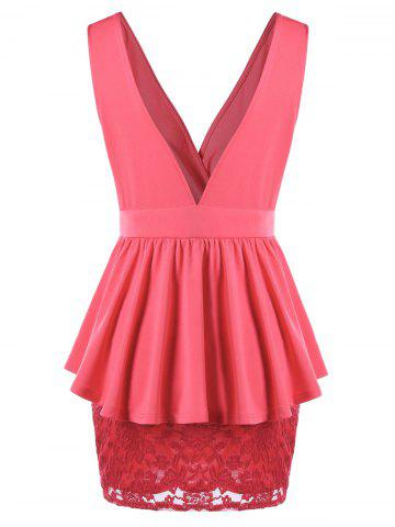 Discount Double V Neck Crossover Lace Peplum Dress - M WATERMELON RED Mobile
