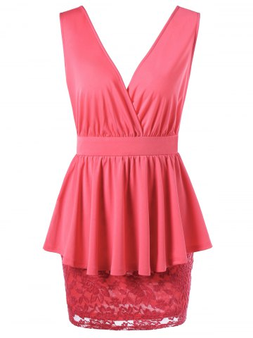 Discount Double V Neck Crossover Lace Peplum Dress - L WATERMELON RED Mobile
