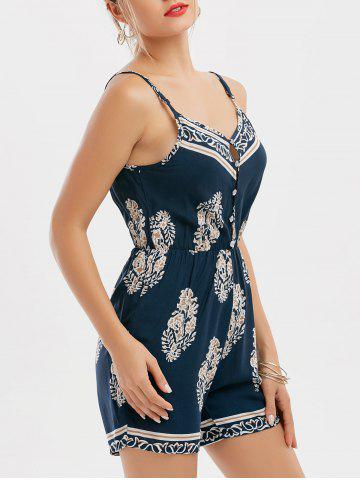 Spaghetti Strap Button Design Printed Romper - Purplish Blue - L