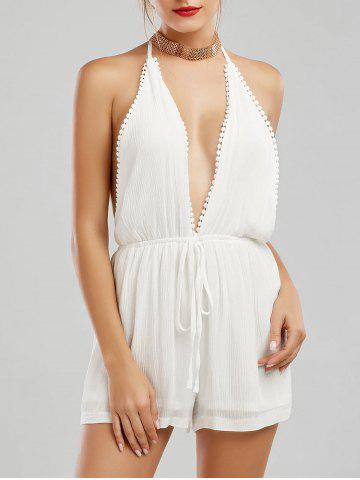Plunging Neck Backless Halter Romper - White - Xl
