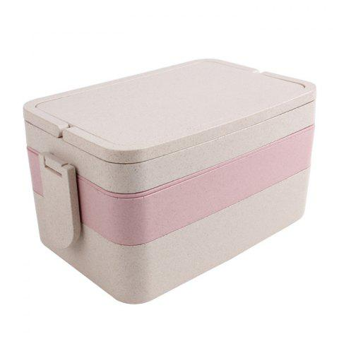 Best Wheat Straw Portable Large Capacity Three Layers Square Lunch Box - PINK  Mobile