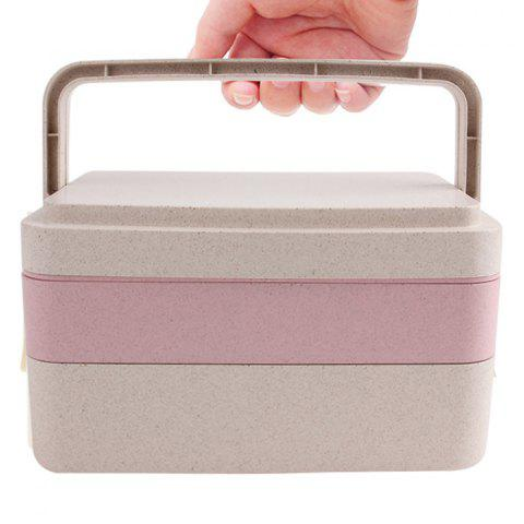Latest Wheat Straw Portable Large Capacity Three Layers Square Lunch Box - PINK  Mobile