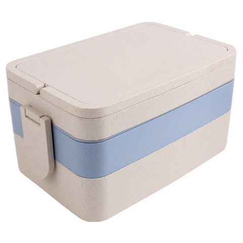 Latest Wheat Straw Portable Large Capacity Three Layers Square Lunch Box - BLUE  Mobile