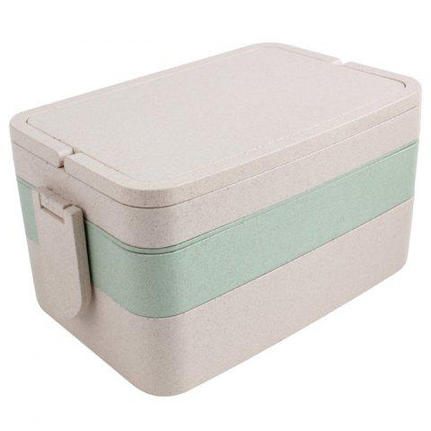 Affordable Wheat Straw Portable Large Capacity Three Layers Square Lunch Box - GREEN  Mobile
