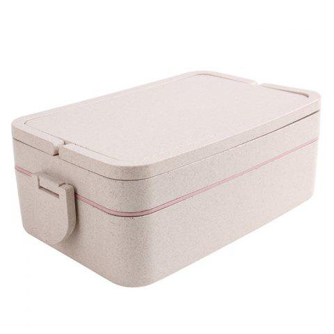 New Wheat Straw Portable Double Layers Large Capacity Square Lunch Box - PINK  Mobile