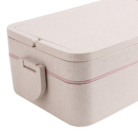 Store Wheat Straw Portable Double Layers Large Capacity Square Lunch Box - PINK  Mobile