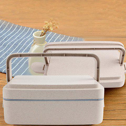 Shop Wheat Straw Portable Double Layers Large Capacity Square Lunch Box - BLUE  Mobile