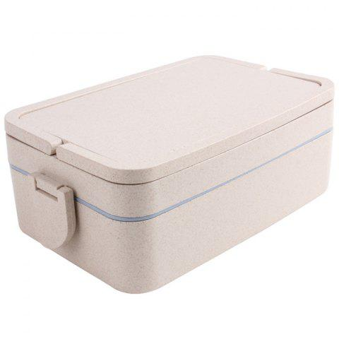 Store Wheat Straw Portable Double Layers Large Capacity Square Lunch Box - BLUE  Mobile