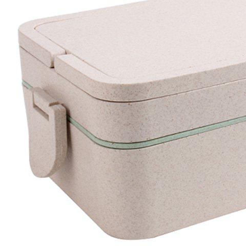 Sale Wheat Straw Portable Double Layers Large Capacity Square Lunch Box - GREEN  Mobile