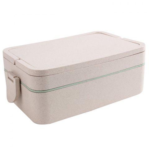 Shop Wheat Straw Portable Double Layers Large Capacity Square Lunch Box - GREEN  Mobile