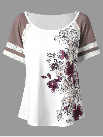 Floral Print Plus Size Scoop Casual T-shirt - White - 3xl