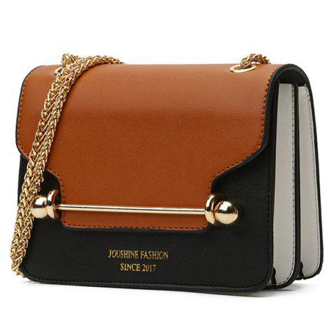 Fancy Chain Metal Bar Color Block Crossbody Bag BROWN