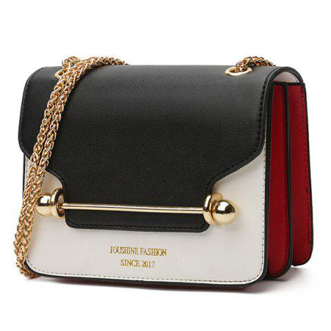 Trendy Chain Metal Bar Color Block Crossbody Bag - BLACK  Mobile