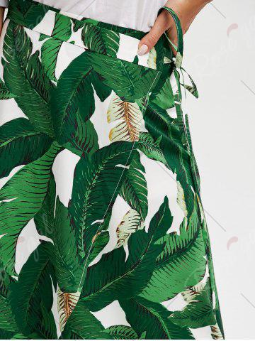 Online High Slit Tropical Leaf Print Wrap Skirt - XL GREEN Mobile