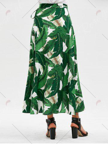 Cheap High Slit Tropical Leaf Print Wrap Skirt - XL GREEN Mobile