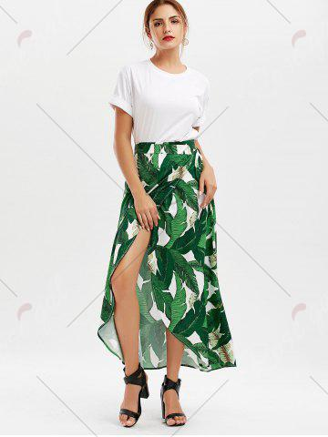 Sale High Slit Tropical Leaf Print Wrap Skirt - XL GREEN Mobile