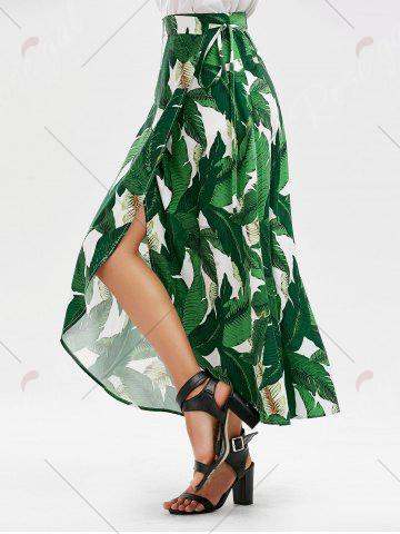 Best High Slit Tropical Leaf Print Wrap Skirt - XL GREEN Mobile
