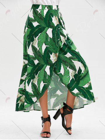 Outfits High Slit Tropical Leaf Print Wrap Skirt - XL GREEN Mobile