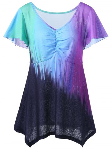 Unique Ombre Plus Size Top - 2XL COLORMIX Mobile