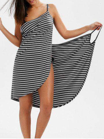 Outfit Pinstripe Open Back Cover-ups Dress GRAY XL
