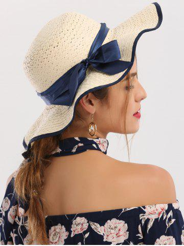 Fancy Wide Brim Ribbon Bowknot Woven Straw Hat IVORY