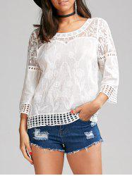 Flower Jacquard Lace Trim Blouse