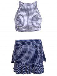Skirted Plaid High Neck Tankini Bathing Suit