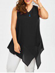 Plus Size Sleeveless V Neck Asymmetric Tank Top - BLACK