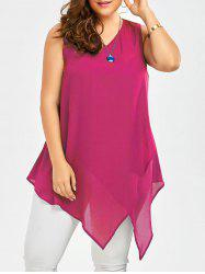 Plus Size Sleeveless V Neck Asymmetric Tank Top - TUTTI FRUTTI