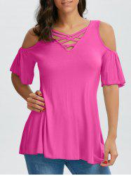 Crisscross Cold Shoulder Top - rose 2XL