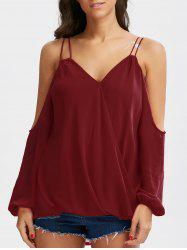 Cold Shoulder Chiffon Wrap Top