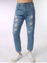 Zip Fly Light Wash Ripped Jeans