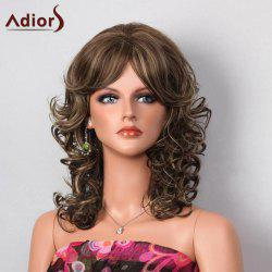 Adiors Side Bang Highlight Shaggy Layered Medium Curly Synthetic Wig