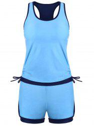 Ensemble Tankini High Lift Waisted Racerback - Bleu L