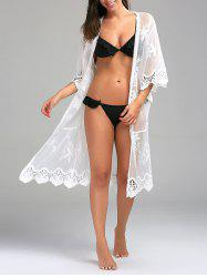 Crochet Panel Sheer Long Beach Kimono Swing Cover Up - WHITE