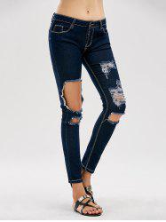 Cut Out Skinny Distressed Jeans