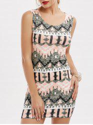 Sleeveless Tribal Print Mini Fitted Dress