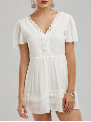Lace Insert V Neck Backless Mini Dress