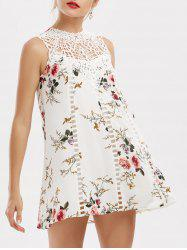 Lace Insert Floral Mini Trapeze Dress