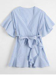 Striped Low Cut Short Wrap Dress - LIGHT BLUE